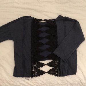 Blue Free People Sweater w/ Open Crochet Back